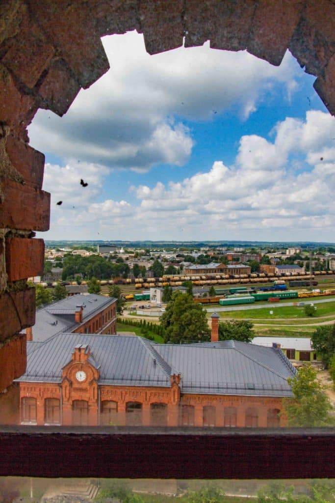 view of the lead shot factory tower in Daugavpils