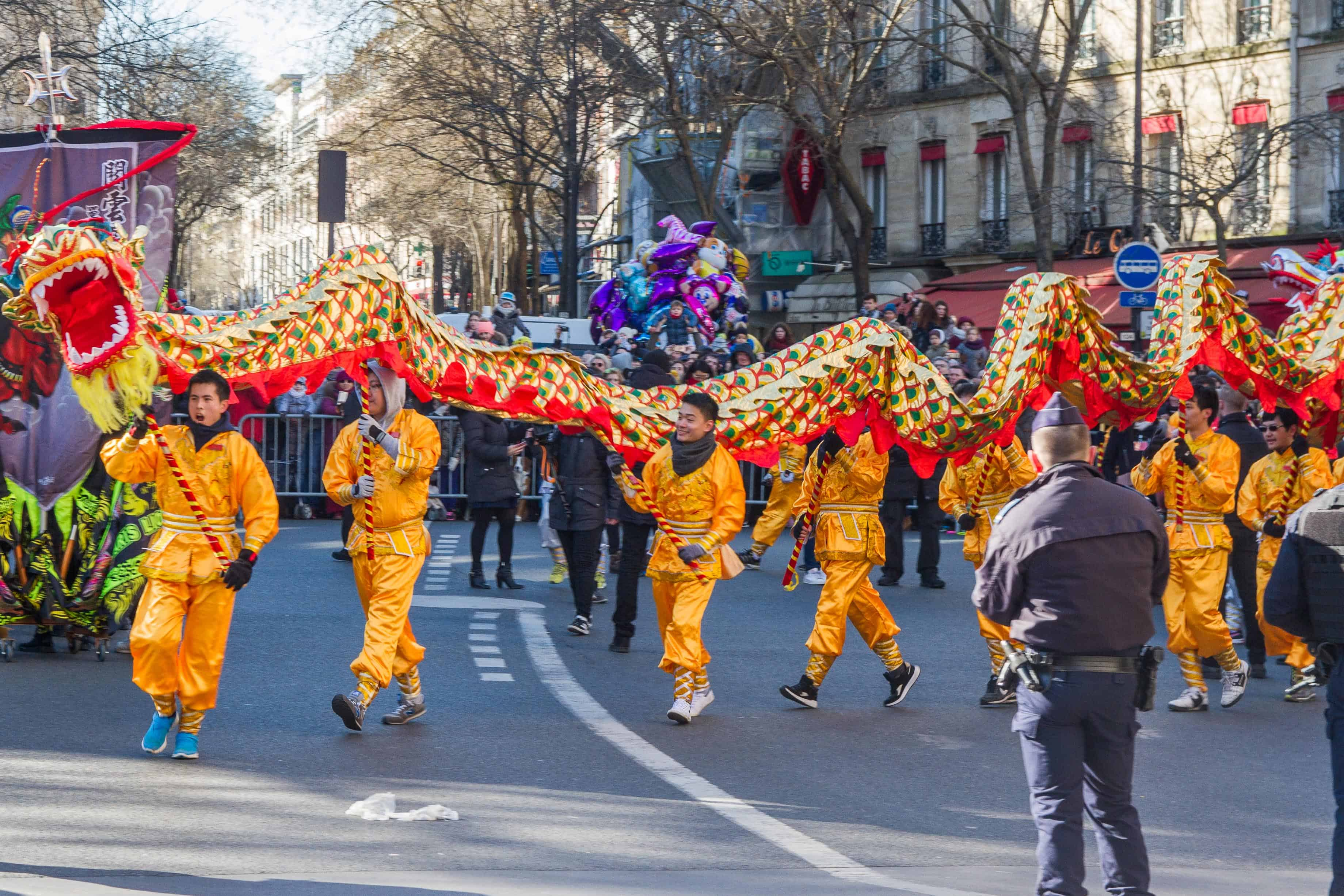 a dragon at the parade of the chinese new year in Paris