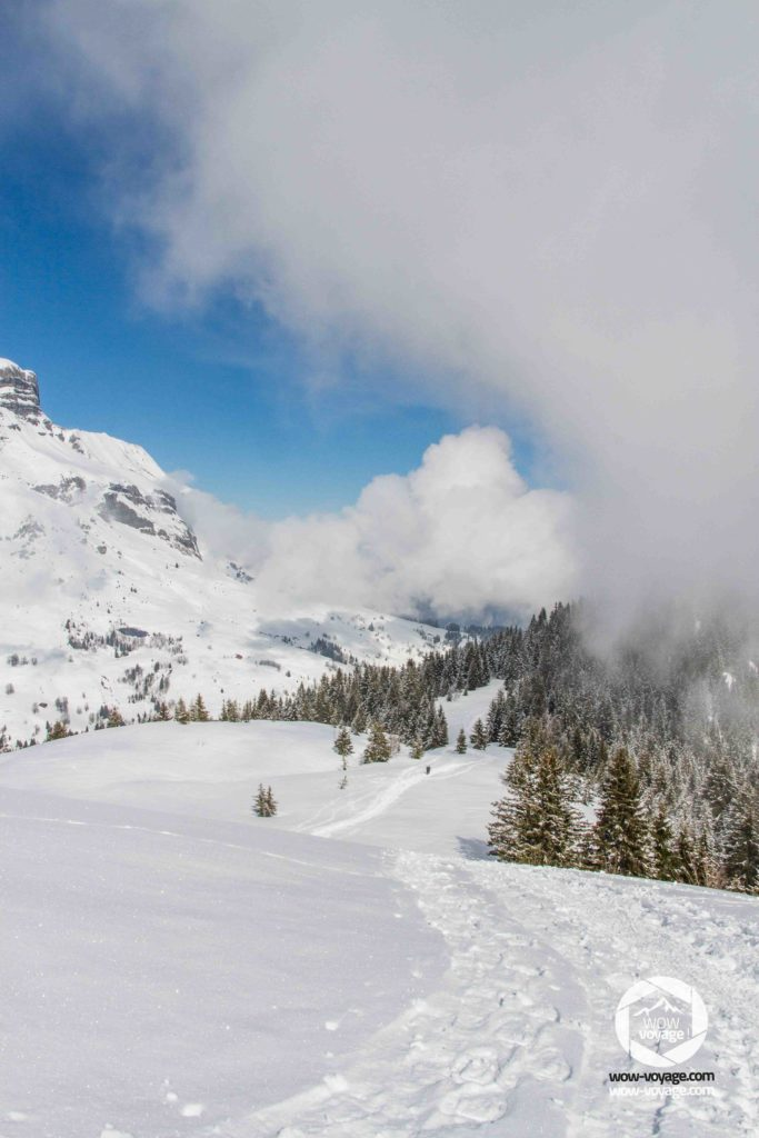 At the top of the mountain everything is calm and silent: kingdom of the snow, clouds come to meet me but this not not a danger I can always see my tracks in the snow! Mountain landscape in Haute-Savoie