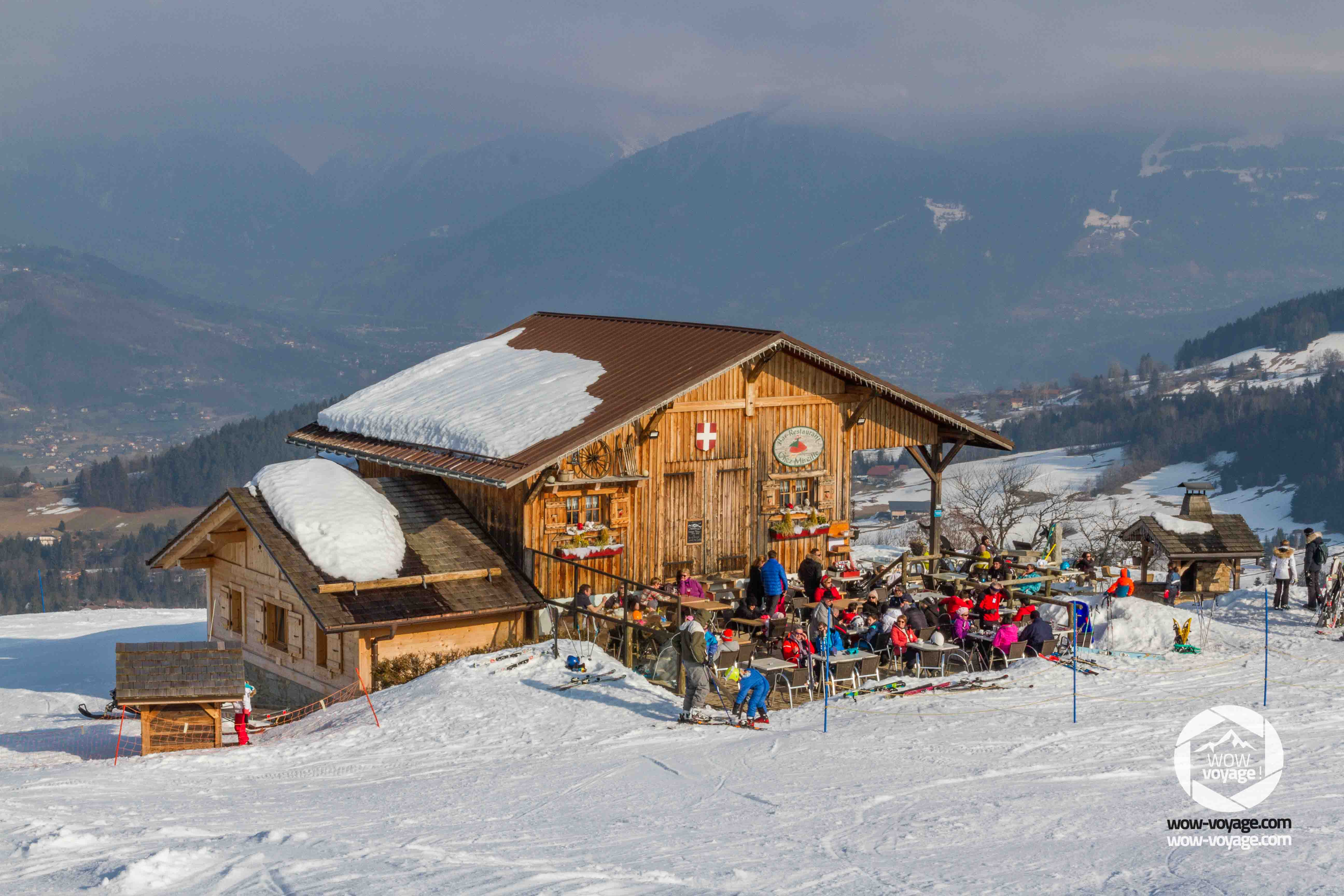 typical alpine chalet where people are restoring