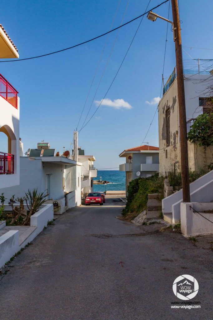 A street and the sea in Panormo Crete, Greece