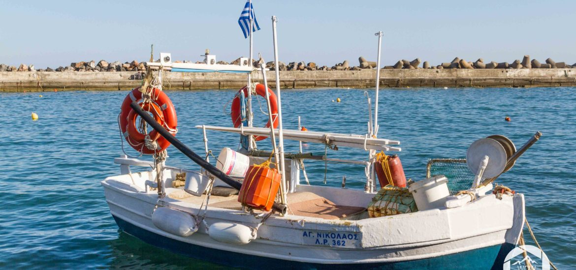 a fishing boat in the port of Panormo, Crete, Greece