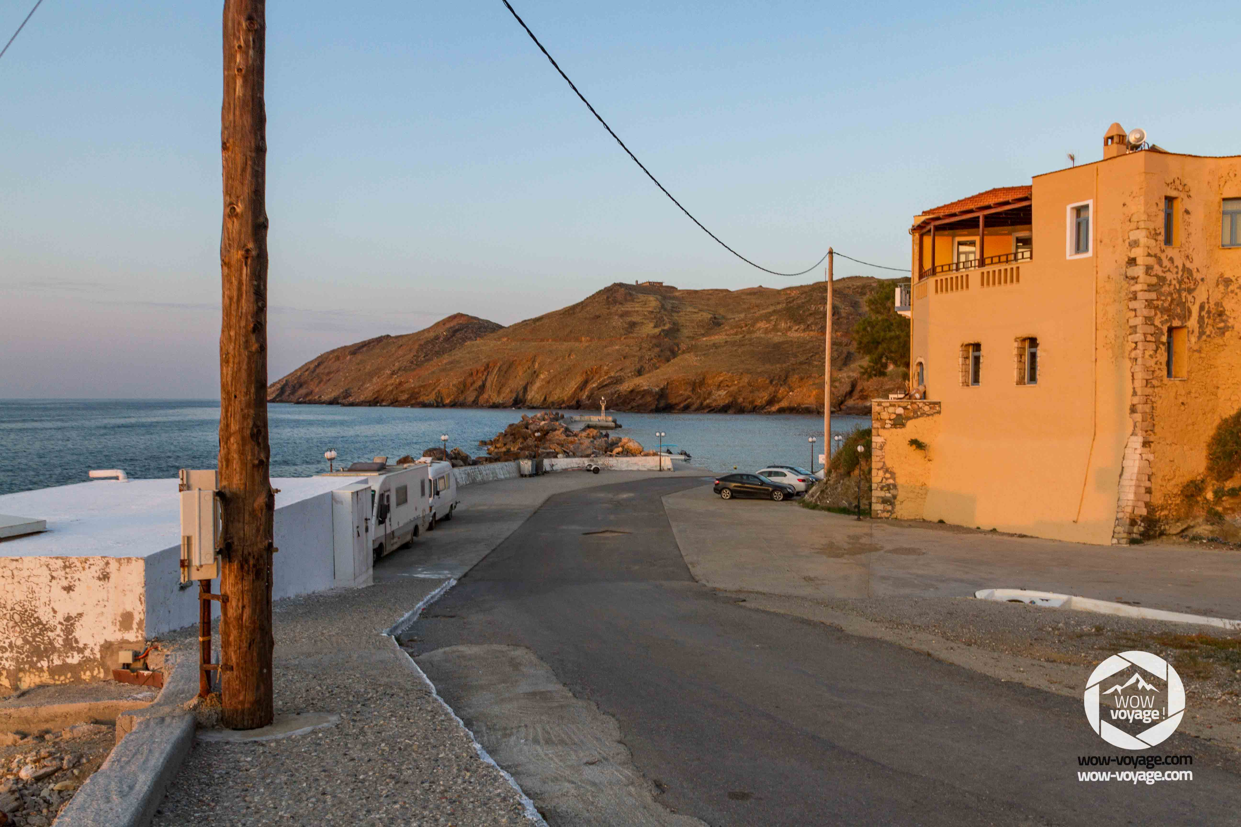 the village of Panormo, Crete, Greece at sunset